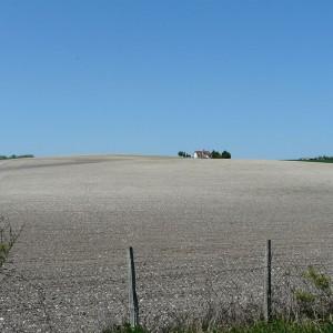 Un champ fraichement labouré typique du Périgord blanc